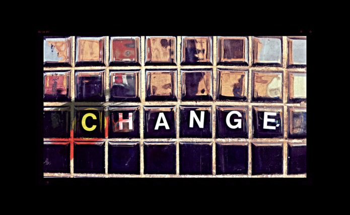 "Street art of word ""Change"""